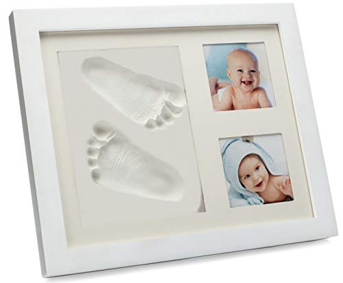 Newborn Baby Keepsake Handprint and Footprint Photo Frame Kit, Elegant and Unique Wood Picture Frames for Babies, Little Boys and Girls Nursery Room Decor, Baby Shower Registry Gifts, Photo Album Box