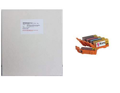 Bramacartuchos - PACK de Una caja de 25 laminas de papel de azucar A4 y 5 X Cartuchos comestibles PGI580 CLI581 XL