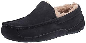 UGG mens Ascot Slipper Black Matte Leather 11 US