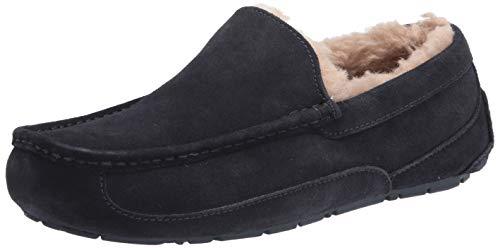 UGG mens Ascot Slipper, Black Matte Leather, 12 US