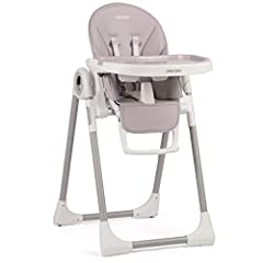 Kinderstoelstoel kinderstoelstoel met opgroeiende baby, verstelbaar en opvouwbaar, 7 hoogtes, verstelbare rugleuning 5 posities, afneembare traybekleding Mand Ricokids Belo (Grijs)*