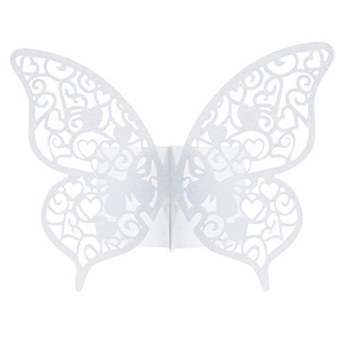 Dokpav 50 x Ronds de serviette Papillon, Pearly Anneau Papier de Serviette, pour Mariage Communion Graduation Anniversaire Fête Party Noël Décorations (Blanc)