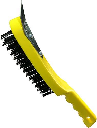 AERZETIX - Cepillo de alambre con raspador 4 filas - Longitud 290mm - Cepillo/Raspador/Metálico de Mano - Mango ergonómico de plástico - Limpieza/Pintura/Óxido - Pelos de Acero - C45946