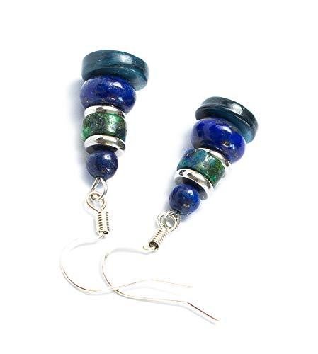 Kimaya Bijoux - Pendientes artesanales lapislázuli y crisocola nácar azul con ganchos, plata 925