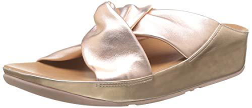 Fitflop Twiss Slide, Damen Offene Sandalen mit Keilabsatz, Pink (Rose Gold 323), 40 EU (6.5 UK)