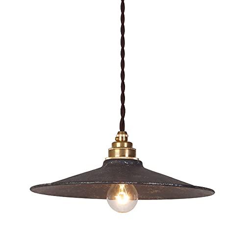 NAMFHZW Lámpara colgante de techo industrial envejecida con acabado de metal negro Lámpara colgante con pantalla E27 1 luz Lámpara colgante semi empotrada Luminaria ajustable en altura Restaurante Bar