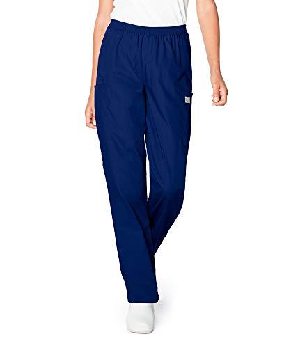 Landau Women's Petite 3-Pocket, Classic Relaxed Fit Full Elastic Waist Medical Scrub Pants 83221, True Navy, PMD