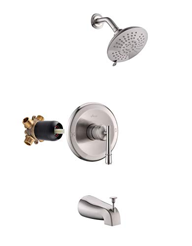 APPASO Shower Faucet and Tub Spout Brushed Nickel (Valve Included), Shower System with 5-Function Spray Head, Single Handle Rain Shower Trim Kit Wall Mount, APT125BN