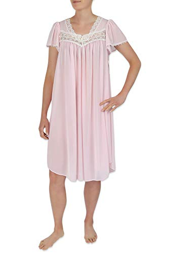Miss Elaine Silk Essence Nightgown - Short Silky & Sheer Tricot Gown with Flutter Sleeves Pink