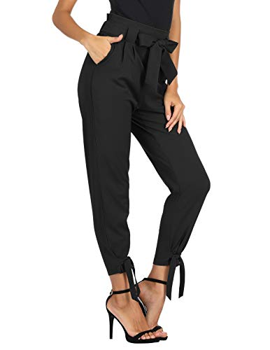 GRACE KARIN Women's Casual Slim Fit Pants Trousers with Pocket for Work Business M Black