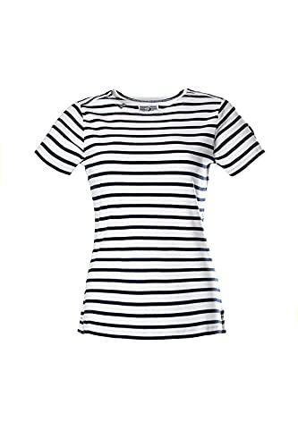 Voile Bleue Copa | Camiseta de mujer de cuello redondo con rayas de manga corta / manga larga con cuello...