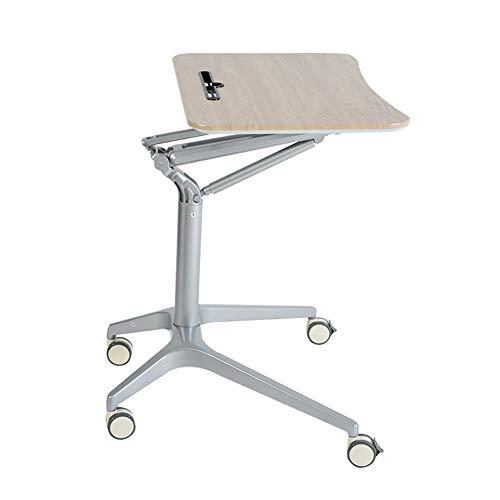 De pie de escritorio ajustable, 71,5 X 47,5 Cm Plataforma, plantea 75-105cm, estaciones de trabajo con ranura del teléfono móvil Tablet PC móvil con ruedas,Beige