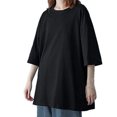 Camiseta básica de algodón de las mujeres de verano de gran tamaño sólido camisetas casual suelta camiseta O-cuello femenino Tops, Negro, XXXL