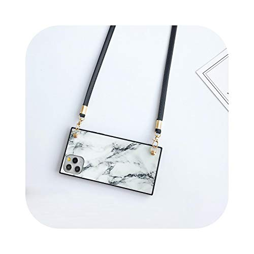 New Marble Lanyard Case For iPhone 12 Mini 11 Pro Xs Max Xr X 7 8 Plus SE 2020 Necklace Strap Rope Square Silicone Phone Cover-Style2-White-For iPhone 12 Mini