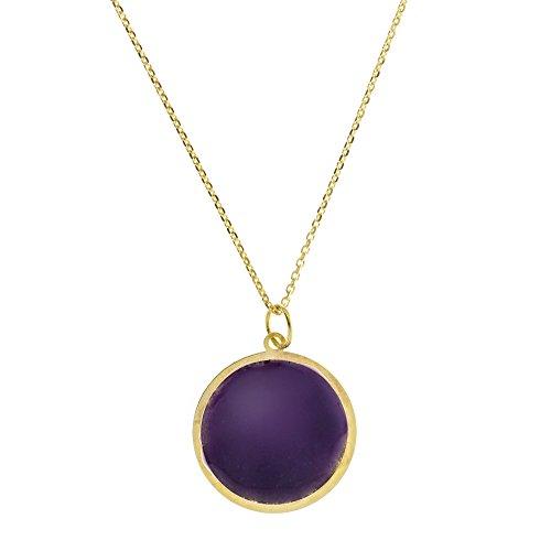 Córdoba Jewels halsketting van 925 sterling zilver, verguld en met paars emaille. Design cirkel nagellak, paars, goudkleurig