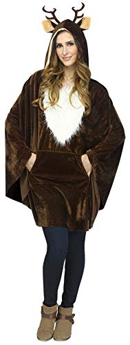 Women's Reindeer Plush Poncho Holiday Theme Party Adult Fancy Costume, OS (4-14) Brown/White