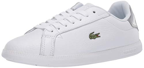 Lacoste Women's Graduate Sneaker, White/Silver, 7 Medium US
