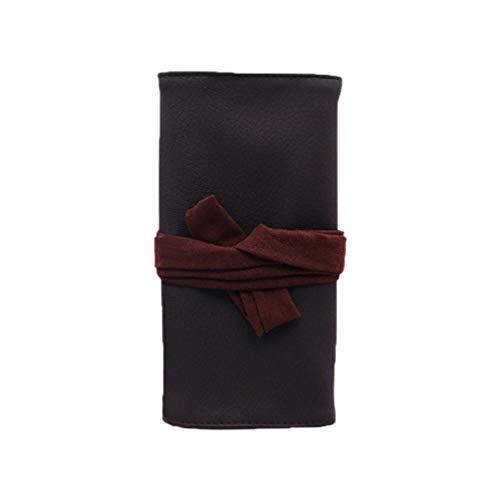 Minkissy make-up kwast zak canvas rol wrap cosmeticatas make-up kleine toiletartikelen schrijfwaren tas voor vrouw naar huis reizen (bruin)