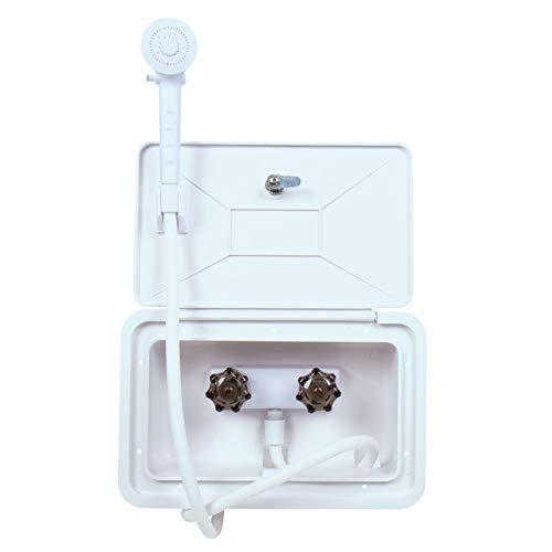 Caja de ducha exterior con tapa de servicio con cerradura, 345 x 220 mm, para caravanas y autocaravanas