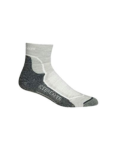 Icebreaker Damen Wandersocken Hike Plus Light Mini Socke, Blizzard Hthr/White/Oil, L
