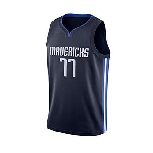 ILHF Dallas # 77 Camisetas de Baloncesto para Hombre Dončić Unisex Fans Jerseys Vestido sin Mangas Dallas Favorito de los fanáticos leales,Negro,XXL
