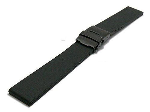 Meyhofer Uhrenarmband Wismar 24mm schwarz Kautschuk mit schwarzer Faltschließe MyBnskc09/24mm/schwarz/FSschw