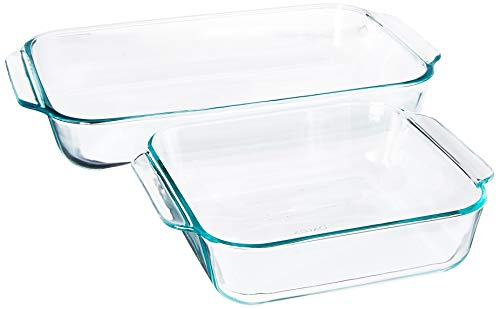 "Pyrex SYNCHKG106070 2Piece Basics Value Pack1-Basics 8""/2 dish1-Basics 3 Quart Oblong Bake Dish, 2.2, clear"