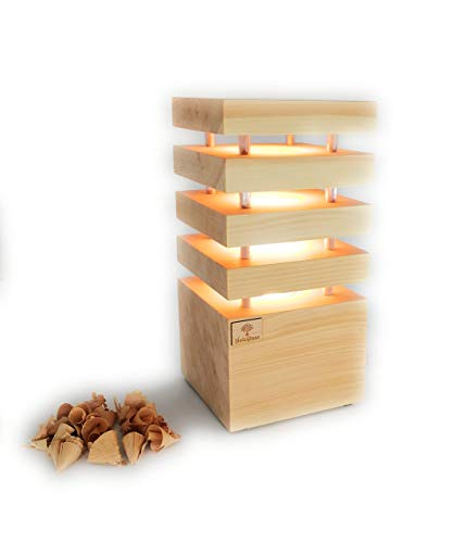 Holzglanz - Design LED-Zirbenlampe 12,5 x 12,5 x 26 cm - hochwertige Schlafzimmer-Lampe aus Zirbenholz - Duftlampe mit angenehmen Zirbenduft - Handgefertigt in Österreich