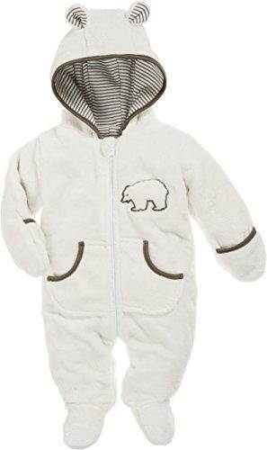 Schnizler Schnizler Baby Fleece-Overall, atmungsaktiver Unisex-Jumpsuit für Jungen und Mädchen mit langem Reißverschluss und Kapuze, mit Bär-Stickung, Beige (Natur 2), 68