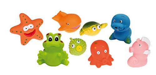 Idena 40457 - Badetiere im Beutel, 8 verschiedene Figuren mit Spritzfunktion, Badewannenspielzeug für Kinder und Babys, ca. 8 x 6 x 6 cm