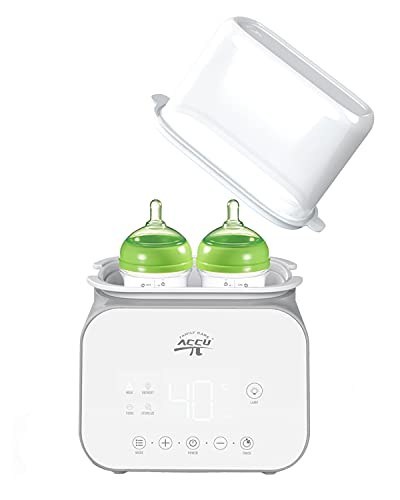 Baby Bottle Warmer, Double Bottle Warmer for Breastmilk, 6-in-1 Baby Food Heater Defroster, Fast Infant Formula Warmer with Timer for Twins, 24H Temp Control, BPA Free