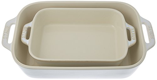 Staub 40511-921 Ceramics Rectangular Baking Dish Set, 2-Piece, Rustic Ivory