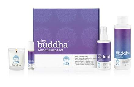 TINY BUDDHA MINDFULNESS GIFT SET Includes Soothing Bath and Shower Gel, Relaxing Pillow Spray, Calming Essential Oil Roll-On, Lychee Flower Scented Candle and Daily Mindfulness Practice Guide