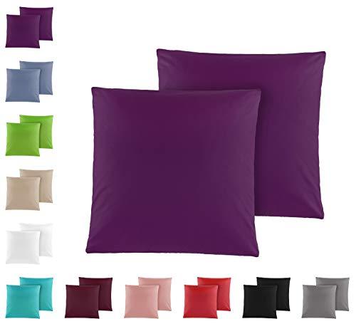 Doppelpack Baumwolle Renforcé Kissenbezug, Kissenbezüge, Kissenhüllen 80x80 cm in vielen modernen Farben Lila