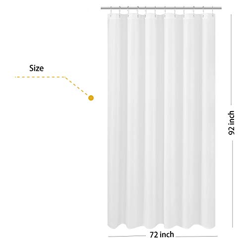 N&Y HOME Extra Long Fabric Shower Curtain or Liner 72 x 92 inch, Hotel Quality, Washable, White Bathroom Curtains with Grommets, 72x92