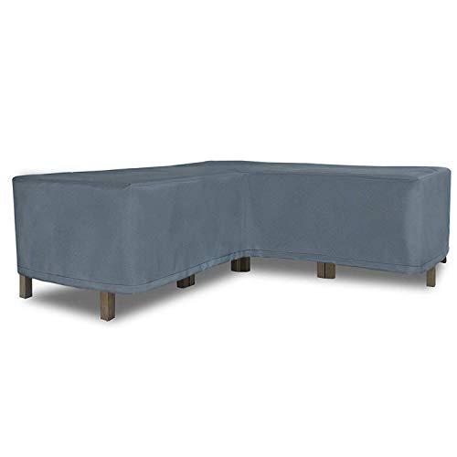 Esquina en Forma de L Cubierta de sofá Patio Exterior Cubierta de Muebles jardín Fundas Muebles Impermeable 255 * 255 * 90 W * 65/90H cm