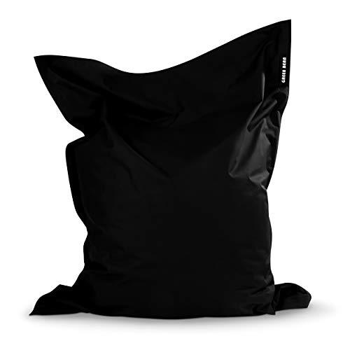 Green Bean © Square XXL Riesensitzsack 140x180 cm - 380 L - Indoor Outdoor - waschbar, ergonomisch, doppelt vernäht, extrem robust, Abnehmbarer Bezug - Sitzsack XXL Pouf Sessel Sitzpouf - Schwarz