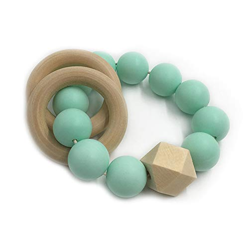 sicher Baby Beißring Spielzeug Lebensmittelqualität Silikon DIY Armreif aus Holz(8#)