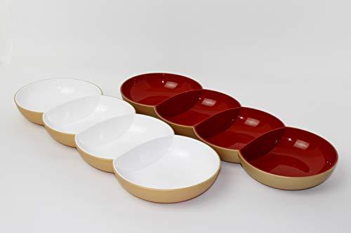 Tupperware Allegra Perle rot Gold +weiß Gold Servierschale Servierschalenquartett