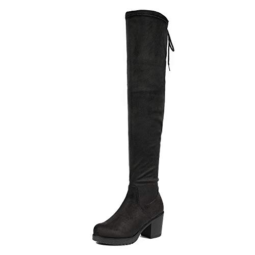 DREAM PAIRS Women's HI_Chunk Black Over The Knee High Boots Size 10.5 B(M) US