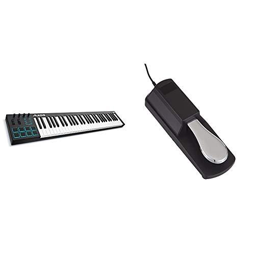 Alesis V61- USB MIDI Pad/Tastatur Controller mit 61 Tasten, 8 anschlagdynamische-Pad mit 4 Regler und Taster & RockJam professionelle Pedal für digitale Klaviere erhalten und elektronischen Keyboards