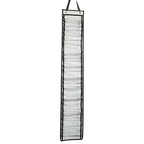 Organizador de soporte de rollo de vinilo 24 compartimentos de PVC transparente Organizador Rack Armario de pared Puerta Organizador colgante estable Almacenamiento Soporte de rollo de película de