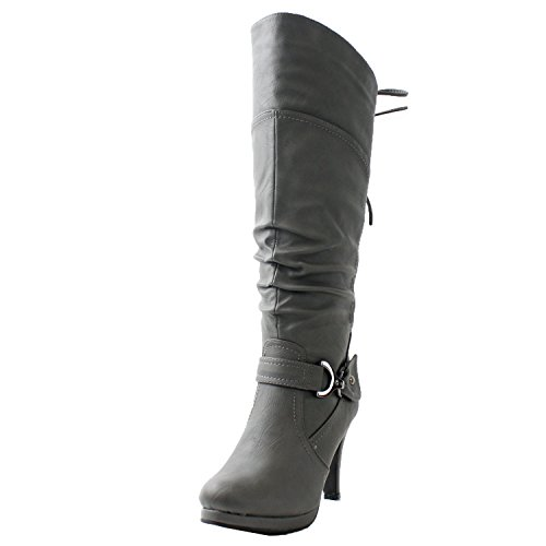 TOP Moda Womens Page-65 Knee High Round Toe Lace-Up Slouched High Heel Boots,Black,9