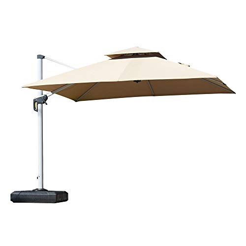PURPLE LEAF 10ft Patio Umbrella Outdoor Square Umbrella Large Cantilever Umbrella Windproof Offset Umbrella Heavy Duty Sun Umbrella for Garden Deck Pool Patio, Beige