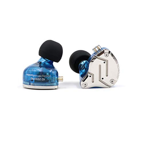 KZ ZS10 Pro 4BA+1DD Hybrid in-Ear Earphone with High Resolution 075mm 2pin Connector Detachable Cable (Without MIC, Blue)