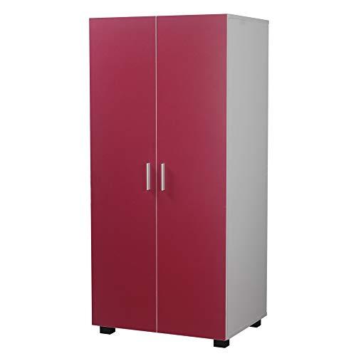 Orlando Wooden 2 Door Kids Wardrobe Bedroom Storage Hanging Bar Clothes (Pink)