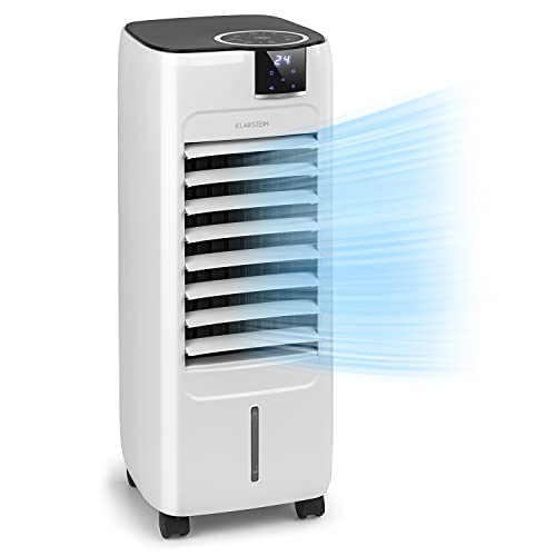 Klarstein Sonnendeck - Enfriador de aire 3 en 1, Ventilador, Humidificador, Potencia 45 W, Caudal 888 m³/h, 3 velocidades, 2 tipos de viento, Oscilación, Panel táctil, Mando a distancia, Blanco floral