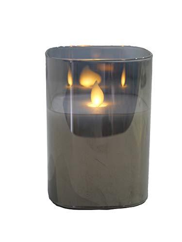 Hochwertige & Eckige LED Kerze im Glas Windlicht - Flammenlose & Flackernde Echtwachskerze (Grau, Höhe:12,50cm)