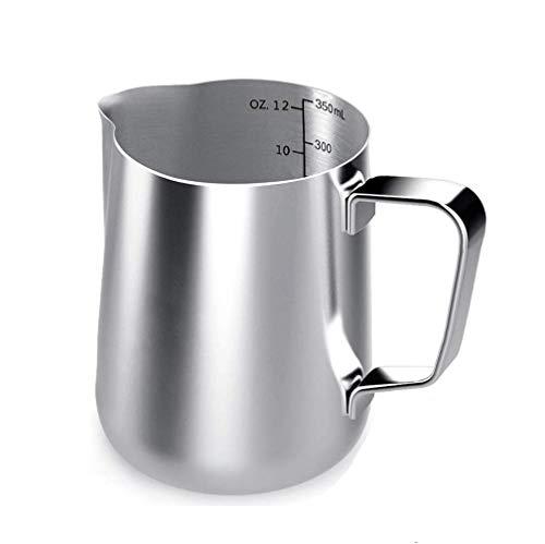 Voarge Milchkännchen, Milk Pitcher 350ml / 12 FL.oz. Milchkanne aus Edelstahl, Milchschaumkännchen Milch Aufschäumen für Cappuccino und Latte Art, Silber
