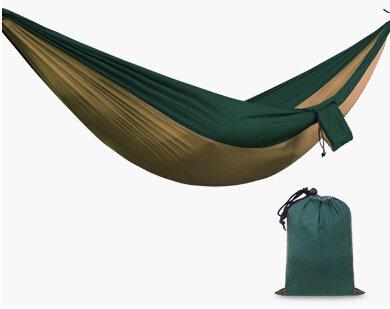 Gift4FR Deux-Personne Portable Pliable léger Parachute Nylon Tissu Voyage Camping Picnic Voyage Hamac Brown & Green